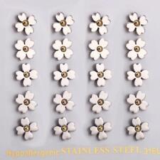 WOMENS HYPOALLERGENIC STAINLESS STEEL SILVER GOLD FLOWER EARRINGS STUDS 1 PAIR