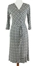 Karen Kane Faux Wrap Dress Sz S Black V-neck Stretch Knit 3/4 Sleeve T290