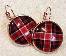 PLAID TARTAN Handcrafted dangle EARRINGS ROSE GOLD Plated Lever BACKS
