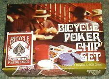 Bicycle Poker Dealer Set with 2 Decks Cards & 200 Interlocking Chips - NIP - New