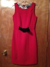 Red Lined Sleeveless Dress w/ black belt by Kstudio Collection Size 4