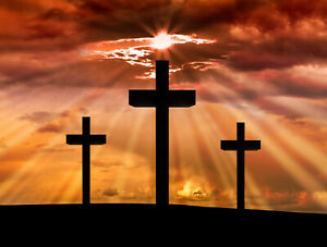 Jesus Christ Cross Sunrise Backdrop Christmas Photo Background Studio Props