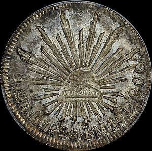 """1828 2 REALES Mo-JM 2R MEXICO 1ST REPUBLIC PCGS MS64  A """"ONE & ONLY"""" CAP & RAYS"""