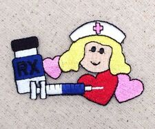 Nurse Needle/Hearts/Pill Bottle/Nursing - Iron on Applique/Embroidered Patch