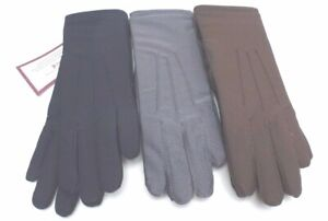 ISOTONER Women's Glove Streth Classics Fleece Line Black/Gray/Brown New