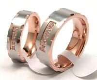 2 Tone Band Ring Rose Gold PVD Hypoallergenic Surgical Steel Select Size Width