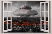 ATOM BOMB 3D Window View Decal WALL STICKER Art Decor Mural Nuclear Explosion