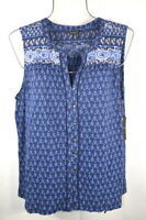 Lucky Brand Women's Spring Blue Flower Sleeveless Top Blouse T-shirt L NWT