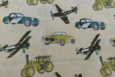 VINTAGE PLANE'S OLD CARS STEAMROLLER 100% cotton poplin fabric sold by the metre
