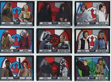 Star Wars Evolution 2016 Complete Stained Glass Pairings Chase Card Set #1-9