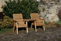 Garden Furniture / Patio Set High Back Roll Top Companion Seat Bench Solid Woo