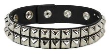 Silver Double Studded Arm Band Genuine Leather 3 Snap Adjustable