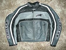 LADIES ALPINESTARS BLACK GREY WHITE US6 EU42 LEATHER MOTORCYCLE JACKET 2PC
