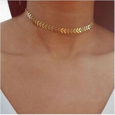 Women's Fashion Leaves Chain Sequins Choker Necklaces in Golden colour.