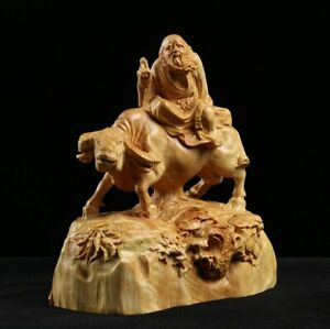 Lao Tzu Sculpture Wood Carving Statue Chinese Historical Saint Collection Decor