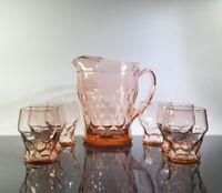 Vintage Rare Anchor Hocking Pink Georgian 48 oz Pitcher + 4 - 8 oz Glasses