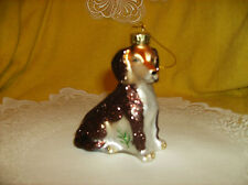 Hand Blown Glass Beagle Ornament dog W/ Dusting Shimmering Glitter By Cobane
