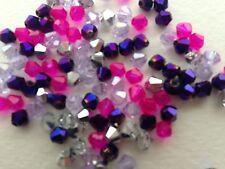 100 Austrian Crystal Glass Bicone Beads - Purple, Pink, & Half Silver Mix   -4mm
