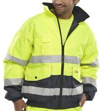 3XL Size Contractor Hi Viz High Vis Visibility Bomber Work Jacket Coat Yellow