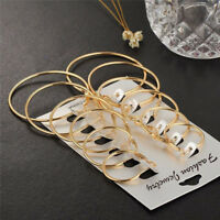 6Pairs/set Silver Gold & Rose Gold Round Hoop Sleeper Earrings 25mm-50mm hot cn
