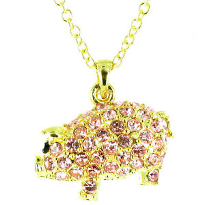 Pink on Gold Plated Bling Pig Necklace