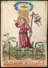 BAMBINO GESÙ JESUSKIND Pergament Schlange Andachtsbild Santino Holy Card 17.Jh.