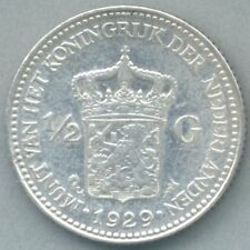 Netherlands / Nederland KM-160 1/2 gulden 1929 VF