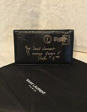 YSL Saint Laurent Y-Mail Black Patent Leather Notebook Checkbook Cover Wallet
