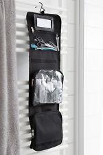 Kulturbeutel zum Aufhängen, Kulturtasche mit Spiegel, Waschbeutel schwarz