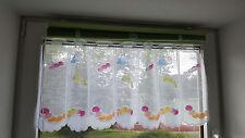 Scheibengardine, Querbehang, Kinderzimmer, weiß, bedruckt Raupen, HxB, 45x100 cm