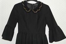 Miss Selfridge Black Embellished Beaded Collar Zip Up Formal Dress UK 8