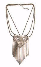 BRONZE TALISMAN SATETEMENT NECKLACE TRIBAL MARKINGS & CHAIN LINK TASSELS (ZX55)