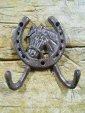 1 Cast Iron Rustic Ranch HORSE HEAD 2 HOOK Coat Hooks Rack Towel HorseShoe