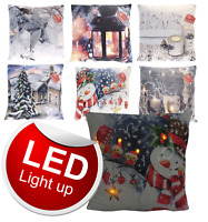 "Light Up Illuminated LED Winter Christmas Xmas Soft Velvet 17"" Filled Cushion"