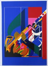 Romare Bearden Sax Player 1979 Silkscreen Print 22-3/4 x 16