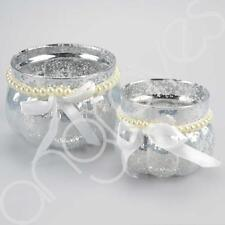 Set of 2 Silver Mercury Finish Pearl & White Ribbon Cup Tealight Candle Holders