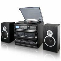 LP RECORD CASSETTE CD PLAYER TURNTABLE STEREO SPEAKERS FM RADIO BLUETOOTH USB