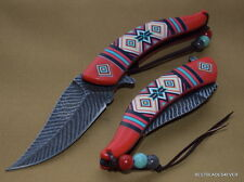 MASTER COLLECTION ANTIQUE STYLE SPRING ASSISTED KNIFE FEATHER DESIGN BLADE