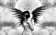 Framed Print - Gothic Dark Angel with Black Wings and Halo (Picture Poster Goth)