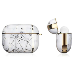 Apple AirPods Pro Marble Gold Case Shockproof Cover Luxury w/ Holder (Calacatta)