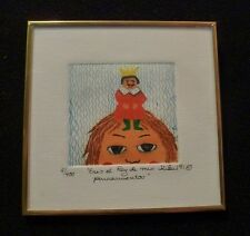 """Signed KIKI Suarez Etching """"You are the King of my Thoughs"""" 1991 400 ed.  SWEET"""