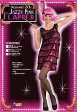 FLAPPER CHARLESTON 1920s fancy dress JAZZY PINK BLACK