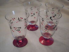 Pfaltzgraff Winterberry 14-Ounce Glass Water Goblets Set of 4 Christmas Glasses