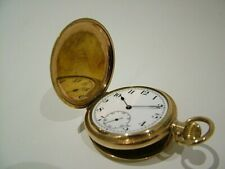 WORKING ANTIQUE GENTS FULL HUNTER TLG SWISS GOLD PLATED POCKET FOB WATCH 848