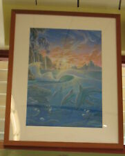 "Dolphins Under the Waves at Sunset Framed Painting by Richard Fields  37"" x 28"""