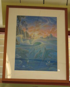 """Dolphins Under the Waves at Sunset Framed Painting by Richard Fields  37"""" x 28"""""""