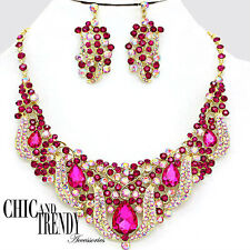 CLEARANCE VERY HIGH END  DEEP PINK CHUNKY CRYSTAL WEDDING FORMAL JEWELRY SET