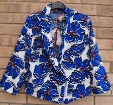 PRIMARK WHITE BLUE RED FLORAL ZIP SIDE BLAZER COAT TUNIC KIMONO JACKET 8 S