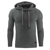 AU Men's Plain Hooded Hoodies Jacket Gym Tops Jumper Pullover Sweatshirt Outwear