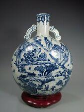 China Chinese Celadon Porcelain Moon Flask vase w/ Blue & White Landscape